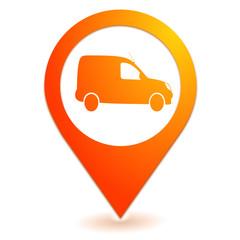 véhicule utilitaire sur symbole localisation orange