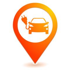 voiture électrique sur symbole localisation orange