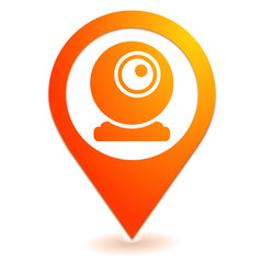 webcam sur symbole localisation orange