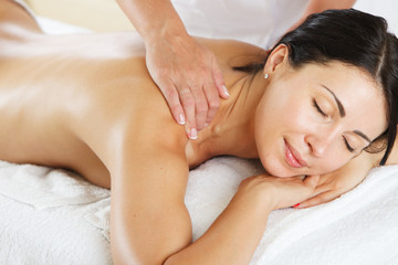 Women having a back massage