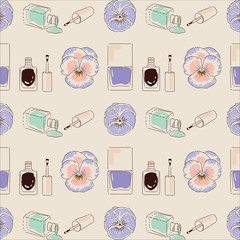 Woman beauty products for manicure seamless pattern