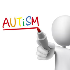 autism word written by 3d man