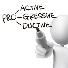 proactive, progressive and productive written by 3d man