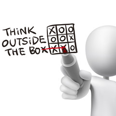 think outside the box words written by 3d man
