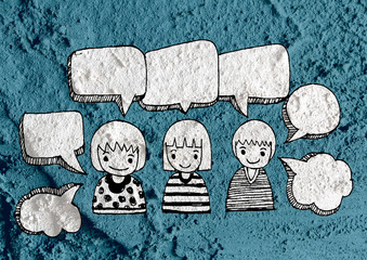 People thinking peoples talking and  Speech Bubble on Cement wal
