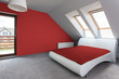White and red modern bedroom