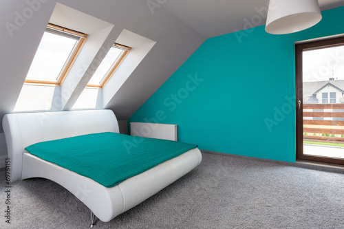canvas print picture Blue and white modern bedroom