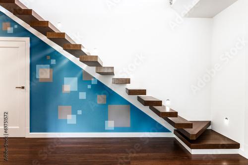 Leinwandbild Motiv Modern illuminated staircase