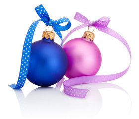 Christmas ball Blue and Pink  with ribbon bow Isolated on white