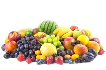 Mix of Fresh Organic Fruits isolated on white