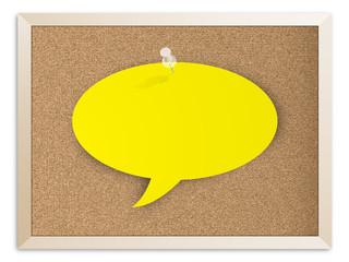 CORKBOARD with SPEECH BUBBLE (notice noticeboard message)