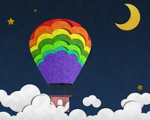 Balloon in Night Sky, Paper Art