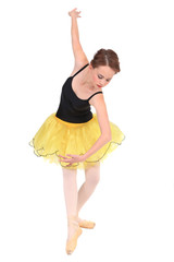 Ballerina with yellow tutu.
