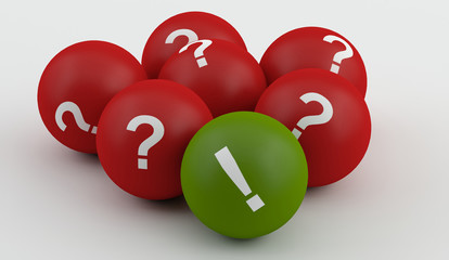 red question balls with green exclamation