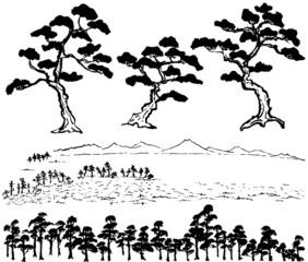 松 浮世絵 毛筆イラスト