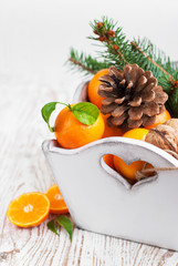 Christmas still life with tangerines