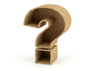 Question mark wooden material