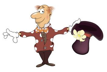 Illustration of a magician gnome cartoon