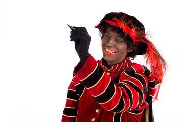 Zwarte Piet writing message ,Sinterklaas (black pete)