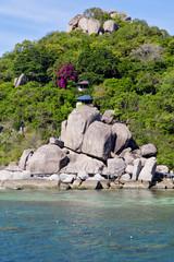 asia  kho tao  bay isle white  beach    rocks house in thailand