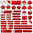 Collection of colorful red glossy 3d vector buttons
