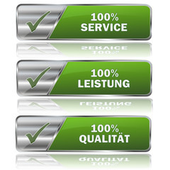 Collection of green vector service satisfaction signs