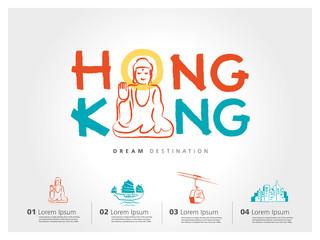 Hong Kong travel set, China, Buddha, typography