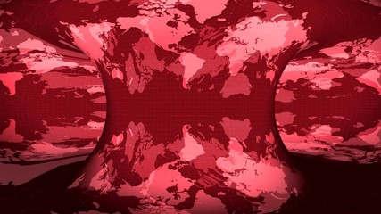 Earth map rotated on a mirror red background (loop)