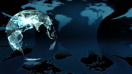 Night Earth globe rotated on a blue earth map  background (loop)