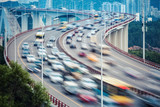 busy traffic closeup and vehicles motion blur