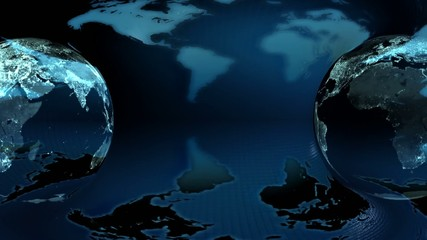 Two Night Earth globe rotated on a blue earth map  background (