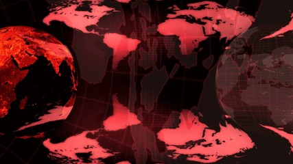 Two Earth globe rotated on a red earth map  background (loop)