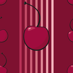 Cherry. Seamless pattern with cherry