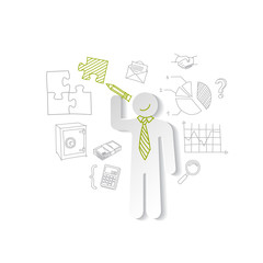 Paper man puzzles and business graphics Marketing concept