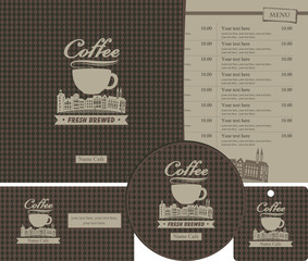 set for the cafe menu, business cards and coasters for drinks