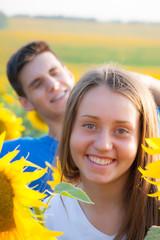 happy teen couple having fun