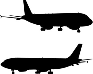 two airplanes silhouettes isolated on white