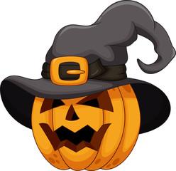Cartoon pumpkin wearing a witch hat