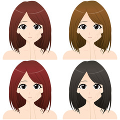 左手を頬にあてる女性 上半身・正面イラスト 髪の色違い4カット