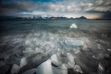 Scary Arctic landscape - ice in the fjord