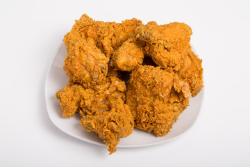 Fried Chicken on White Plate and Counter
