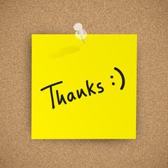 """""""Thanks"""" written on CORKBOARD (speech bubble question)"""
