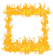 yellow and orange flames frame on white