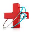 Zdjęcia na płótnie, fototapety, obrazy : stethoscope and red first aid symbol