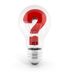 light bulb with question mark in it. concept of dilemma