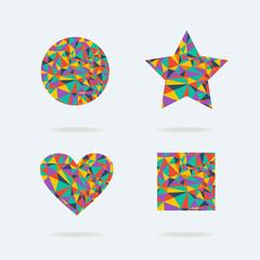 Set of bright symbols