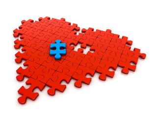 colorful puzzle pieces in heart shape. 3d illustration