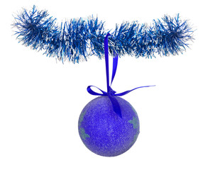 blue christmas ball on tinsel isolated on white