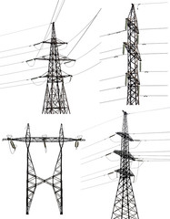 set of four electrical pylons isolated on white