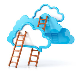 clouds with ladders on white. 3d render